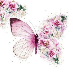 Art Papillon, Papillon Rose, Paper Napkins For Decoupage, Butterfly Flowers, Butterflies, Sunflower Flower, Star Butterfly, Paper Flowers, Butterfly Wallpaper
