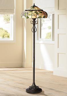 vivian green leaf tiffany style art glass floor lamp