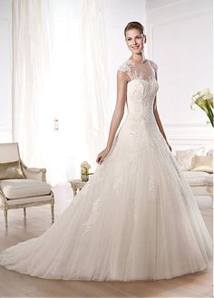 BEAUTIFUL ELEGANT TULLE A-LINE ILLUSION HIGH NATURAL WAISTLINE WEDDING DRESS IVORY WHITE LACE BRIDAL GOWN HANDMADE CUSTOM