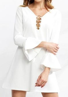 White Plain Sequin V-neck Fashion Polyester Mini Dress