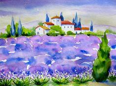 """ Provence Lavender Field "", painting by artist Meltem Kilic"