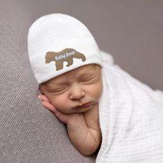 eb1932aa87642 Baby Bear Newborn Boy Hospital Hat - White (or BLUE) Hat - Newborn Boy Hat  - Baby Bear Hat