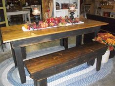 Harvest Table with bench...Chairs arriving soon