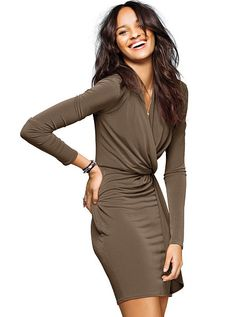 Faux-wrap Dress day to night fall style #MyVSFallEdit