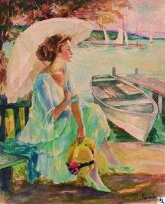 Edward Cucuel - Lady with Parasol at the Edge of the Lake