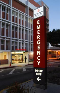 Dignity Health California Hospital emergency department identification signage.