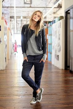 Anytime Winter Casual For Women  - love the cropped pants with converse