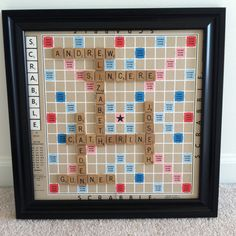 Framed scrabble family name wall art