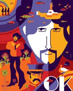 The Beatles Art Print Set by Tom Whalen