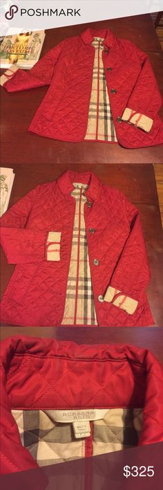💯Burberry Brit Red Quilted Jacket❤️ Sleeve length: 25inches. Jacket length: 24.5 inches. Very gently worn. Will go fast 💨 Burberry Jackets & Coats