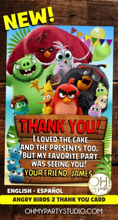 ANGRY BIRDS PARTY, ANGRY BIRDS 2, ANGRY BIRDS 2 THANK YOU CARD, ANGRY BIRDS MOVIE THANK YOU CARD, ANGRY BIRDS PARTY IDEAS, ANGRY BIRDS MOVIE 2nd Birthday Parties, Birthday Cakes, Birthday Invitations, Birthday Ideas, Angry Birds 2 Movie, Festa Angry Birds, Movie Invitation, Monster First Birthday, Movie Party