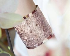 Rose Gold cuff Rose Gold cuff bracelet circles by KelkaJewelry, $145.00