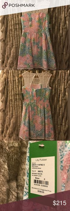 """Lilly Pulitzer Morrison Lace Overlay Dress Brand New with Tags- Never Worn! Super cute party dress! Lace Over Poplin Dress With A See-Through Neckline And A Full Skirt. 18.5"""" From Natural Waist To Hem. Cotton Nylon Corded Lace (58% Cotton, 42% Nylon) Lilly Pulitzer Dresses"""