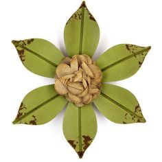 Green Distressed Metal Flower with Cloth Center