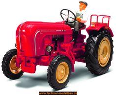 Porsche Diesel Traktor  1 Traktor PORSCHE DIESEL 1:14. Fertig- Modell - RTR (ready-to-run). Fahrfertig aufgebautes Modell mit Fahrerfigur und Funkfernsteuerung. Incl. Batterien!