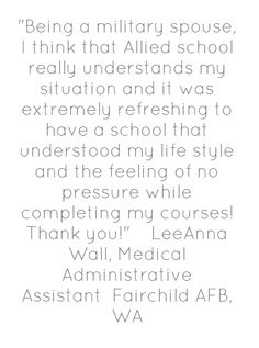 Allied Schools Military Spouse success story #milspouse #mycaa