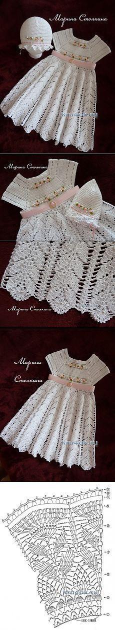 Платье и шапочка для девочки — работа Марины Стоякиной - вязание крючком на…