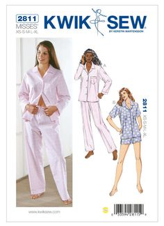 Look no further for your ladies pyjamas Kwik Sew sewing pattern Available to buy on-line from Sew Essential. Kwik Sew Patterns, Mccalls Patterns, Vintage Sewing Patterns, Sewing Ideas, Sewing Crafts, Sewing Projects, Clothes Patterns, Dress Patterns, Craft Projects