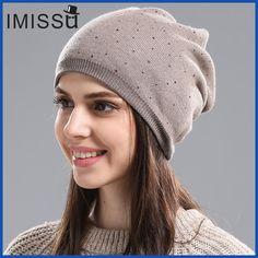 3b0edb9498b IMISSU Women s Winter Hat Knitted Wool Beanie Female Fashion Skullies  Casual Outdoor Mask Ski Caps Thick