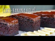 Recept za Čoko-banana kolač. Za spremanje poslastice neophodno je pripremiti šećer, brašno, vanil šećer, kakao, prašak za pecivo, sodu bikarbonu, banane, jaja, vodu, mleko, ulje, slatku pavlaku, čokoladu, puter.
