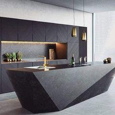 Cozinha Preta: +148 Ambientes e Dicas de Decoração para 2021 Elegant Kitchens, Modern Farmhouse Kitchens, Luxury Kitchens, Cool Kitchens, Kitchen Modern, Dream Kitchens, Small Kitchens, Minimal Kitchen, Eclectic Kitchen