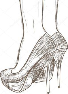İndir - Ayakkabı kroki — Stok İllüstrasyon #13405236