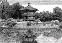 [김영택 화백의 세계건축문화재 펜화 기행] 경복궁 향원정 - 중앙일보 뉴스 Ink Pen Drawings, Drawing Sketches, Korean Art, Asian Art, Korean Painting, Pen Sketch, Environment Design, Art Background, Colouring Pages