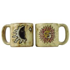 @Overstock.com - These handcrafted Mermaids mugs from Mara Stoneware make a creative addition to any dinnerware collection. The detailed engraving and fine painting of this mug set, combined with a durable finish creates the ultimate combination of art and utility.   http://www.overstock.com/Worldstock-Fair-Trade/Set-of-2-Mara-Stoneware-16-oz-Sun-and-Moon-Tan-Mugs-Mexico/5655037/product.html?CID=214117 $37.95
