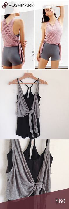 Free People 'In Balance' bodysuit (grey combo) Brand new fitted bodysuit with built-in mesh bra. Slub overlay can be wrapped and tied like model in first picture from free people's website. Machine washable. Free People Other