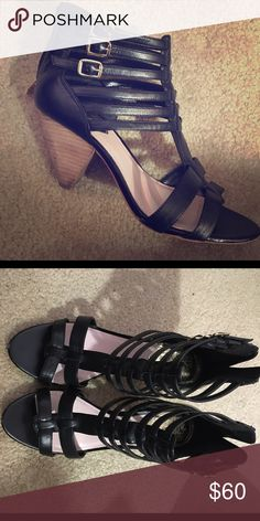 Vince Camuto Cage heels Black leather Vince Camuto cage style heels. Really comfy to walk in. Can dress up or down. Vince Camuto Shoes