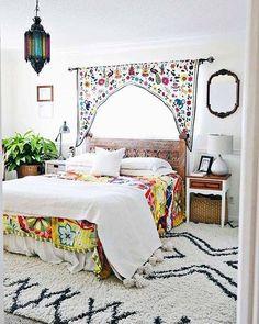 Such a lovely #floral #rainbow #bedroom #homedecor #homeinterior #homeinspo #boho