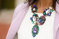 Necklace with lilac blazer