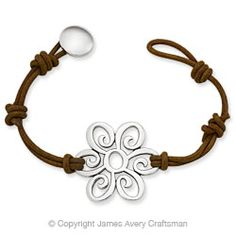 "Simple silver & leather  The Summer Blossom Leather Bracelet is 7 1/2"" long."