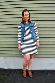 Uniqlo stripe boatneck dress, Old Navy jean vest, brown booties, red necklace. Throw on, look cute, and go! http://www.justjacq.com/2016/03/31/stripe-dress-jean-vest-brown-booties/