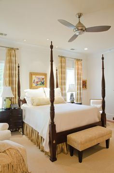 Classic four-poster bed with white linens. #neutral #master #bedroom