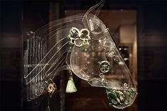 clear plastic horsehead displaying Luristan horse ornaments(12th to the 8th centuries BC)