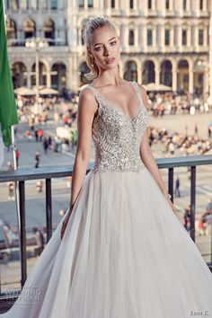 eddy k milano bridal 2017 sleeveless with strap v neck heavily embellished bodice a  line ball gown tulle wedding dress low open back (md230) zv