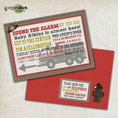 fire truck baby shower invitation fireman sound by GreenDotDesigns, $14.00 NEEEEEEEEEEEEED!!!!!!!!!!