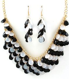Black and white chunky tear drop necklace set | Jewelry4theheart - Jewelry on ArtFire