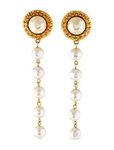 #xmas #Christmas #The RealReal - #Chanel Chanel Vintage Pearl Drop Clip-On Earrings - AdoreWe.com