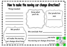 I used this to guide my students in conducting an experiment about what forces can do. It also help them to practice writing a prediction and a conclusion.