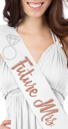 """Rose gold glitter """"future mrs"""" sash! This sash is the perfect accessory for engagement parties! The future mrs will love standing out in this super cute sash that she can wear again and again. #engagementparty #engagement #futuremrs"""