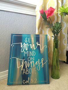 Hand Lettered Bible Verse Canvas Painting by CarrazyCuteCanvas