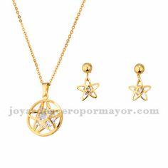 juego collar y aretes de estrella dorado con cristal en acero inoxidable…