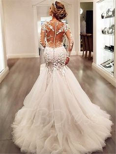 77+ Mermaid Wedding Dresses with Sleeves - Wedding Dresses for the Mature Bride Check more at http://svesty.com/mermaid-wedding-dresses-with-sleeves/