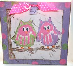 Owl Handprint Plaque - paintingmehappy Awww---need to do this with my girls :)
