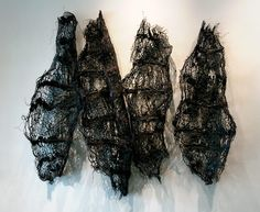 """Fragments"" Nnenna Okore (Nigeria ) burlap, handmade paper and dye"