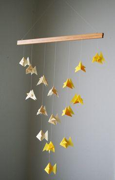 Origami Mobile - Goldfish School of Fish - Hanging Decor - Origami Paper Sculpture - Modern Mobile.  via Etsy.