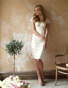 Indie wedding dress - ivory silk tiered cocktail dress for an elopement or casual wedding Indie Wedding Dress, Wedding Dresses Photos, Casual Wedding, Bridal Dresses, Wedding Gowns, Ivory Dresses, Rehearsal Dinner Dresses, Rehearsal Dinners, Wedding Guest List