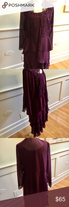 """Women's Plus Size Tulip Tier Dress with Jacket Jacket has detailed lace design with sheer sleeves.  Dress is sleeveless and has a beautiful fit that is both flattering at the waist and length, which falls just below the knees.  The dress also has a design at the neckline.  Designer describes the color as """"Napa"""" color (a deep wine Cabernet color).  Fully lined 100% Polyester.  Only worn once for a benefit gala and is like new.  The item has been dry-cleaned. S.L. fashions Dresses Asymmetrical"""
